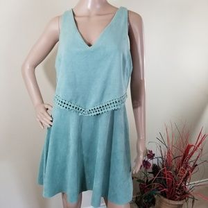 Altar'd State Teal Overlay Suede Tunic Top Dress